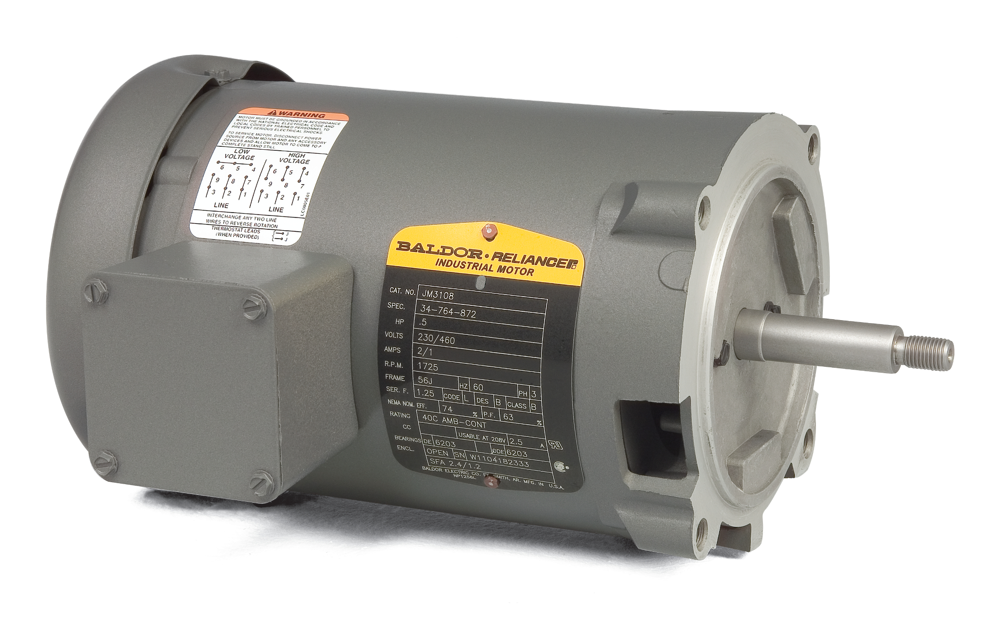 small resolution of jm3154 pump motor baldor 1 5hp 1725rpm 3ph 60hz 56j 3520m open f1 3 phase motor wiring diagrams wiring diagram baldor 2 hp single phase motor