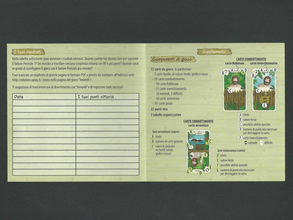 Ecco dove riportare i nostri successi! A destra il dettaglio del contenuto della scatola e della descrizione delle carte Comabattimento