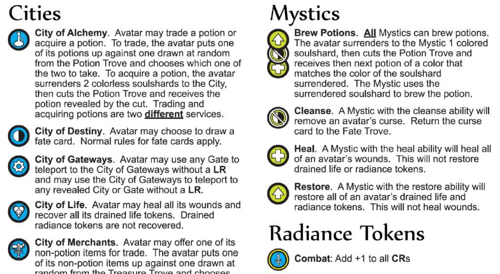 Icone parte seconda: Sono presenti più tipologie di città di quanti ne vengono impiegate ogni partita (da 1 a 4). Le strategie di ogni partita saranno diverse in base alle risorse disponibili.
