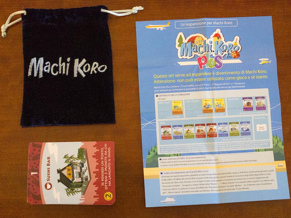 Il contenuto dell'espansione Machi Koro Plus.