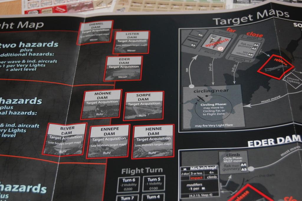 Dettaglio della mappa: le 8 dighe possibili obbiettivi del nostro raid.