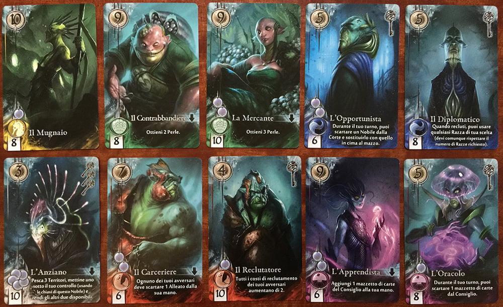 Le carte nobile sono tante e tutte diverse e garantiscono una buona rigiocabilità.