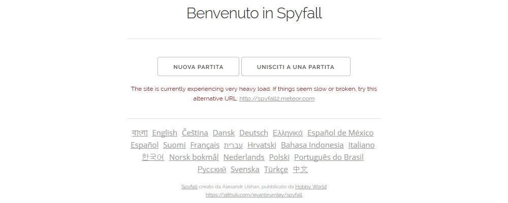 La homepage del sito che permette di provare gratuitamente il gioco.