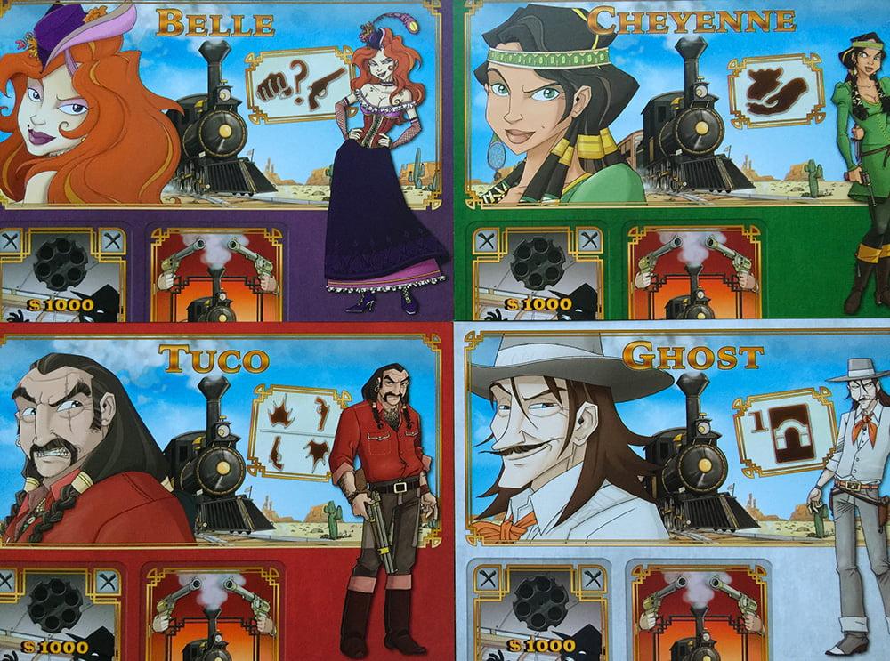 Quattro delle sei schede personaggio giocabili: in basso vedete gli spazi per le carte, mentre in alto a destra ci sono le icone che ne riassumono i poteri speciali.