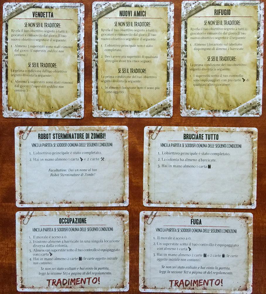 Il gioco ha tre diverse tipologie di obiettivi individuali (che sono segreti): in alto, quelli degli esiliati (che variano a seconda che il giocatore sia un traditore oppure no); al centro, invece, quelli standard