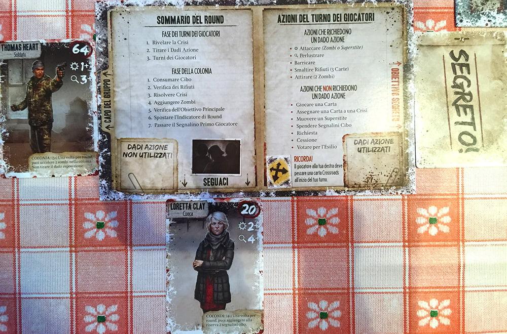 Il cruscotto di ogni giocatore, con le schede dei suoi personaggi e l'obiettivo segreto.