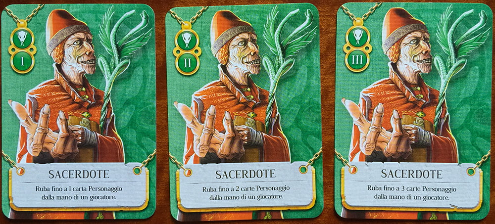 Tre carte Sacerdote: come potete notare, il valore da 1 a 3 implica la reiterazione di altrettante volte dell'azione principale.