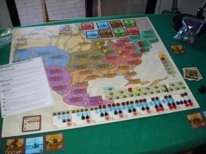 La mappa dell'America del Nord all'inizio di una partita per due giocatori.