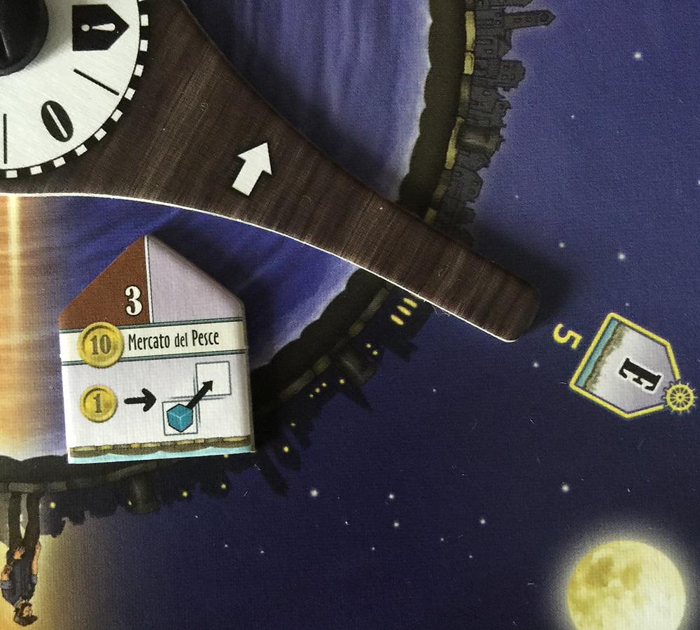 Durante il turno E, il giocatore A ha acquistato il usando 3 pezzi di legno dal magazzino.