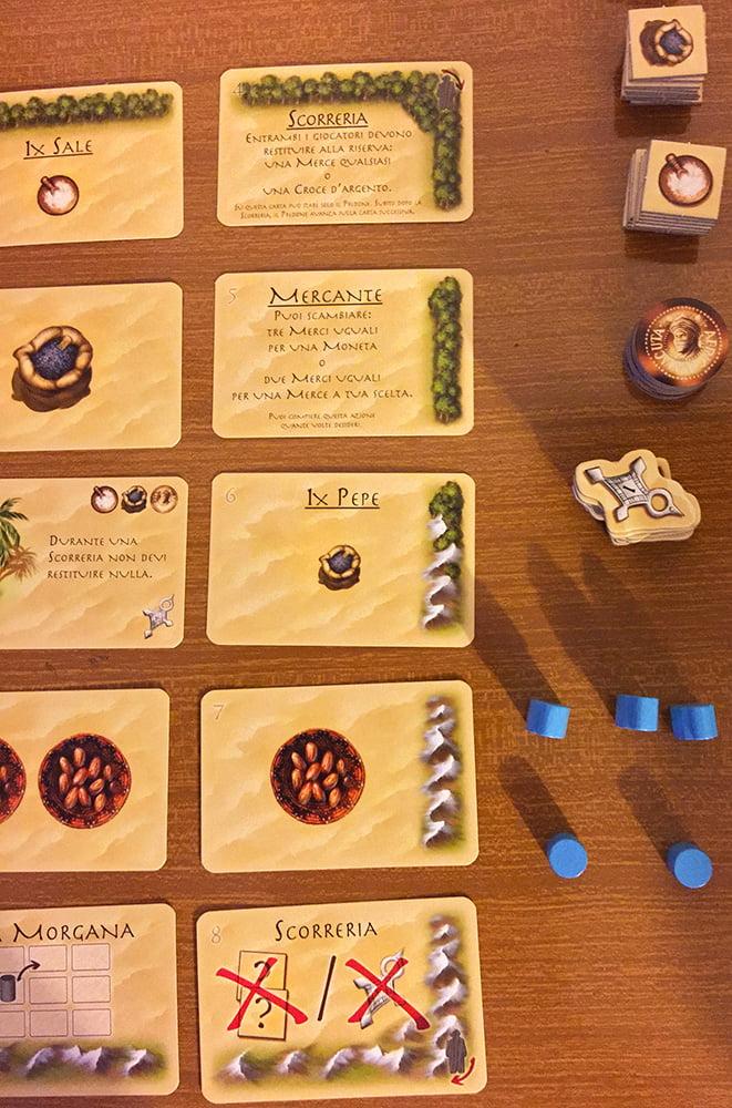Il giocatore azzurro deve posizionare il suo primo targi e ha deciso di iniziare dal lato destro della plancia, ma