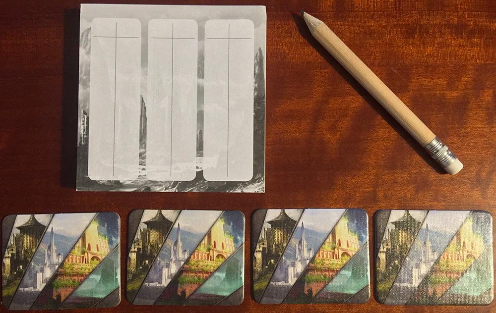 Il blocco segnapunti con la matita e i token reliquia.