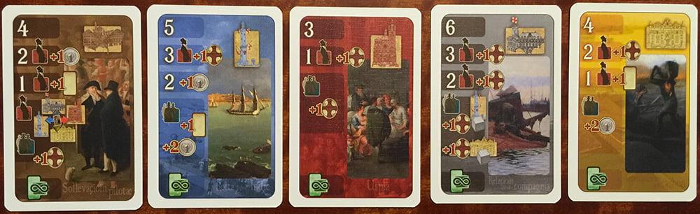 5 sfondi di colore diverso per 5 aree differenti della città: manca la sesta (il Forte), perché ha un mazzo apposito, attivabile solo dalle carte Evento.