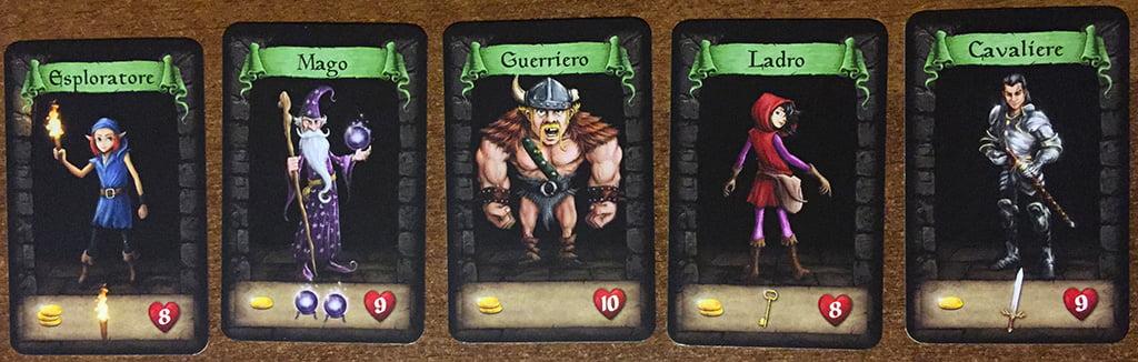 Le cinque classi del gioco: non sono previsti miglioramenti o poteri speciali da acquisire durante la partita.