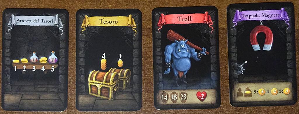 Le quattro diverse tipologie di stanze che si possono incontrare durante l'avventura.