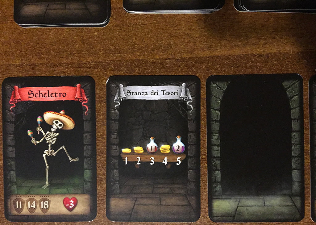 La partita ha inizio, rivelando la prima stanza (che nella foto precedente era coperta): il party deve vedersela con un