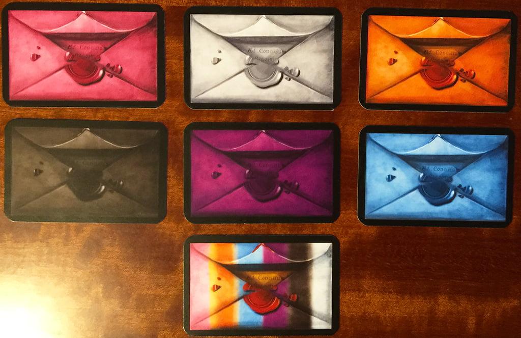 Diverse tipologie di carte politica, nei 6 colori dei consiglieri, più una jolly multicolore.