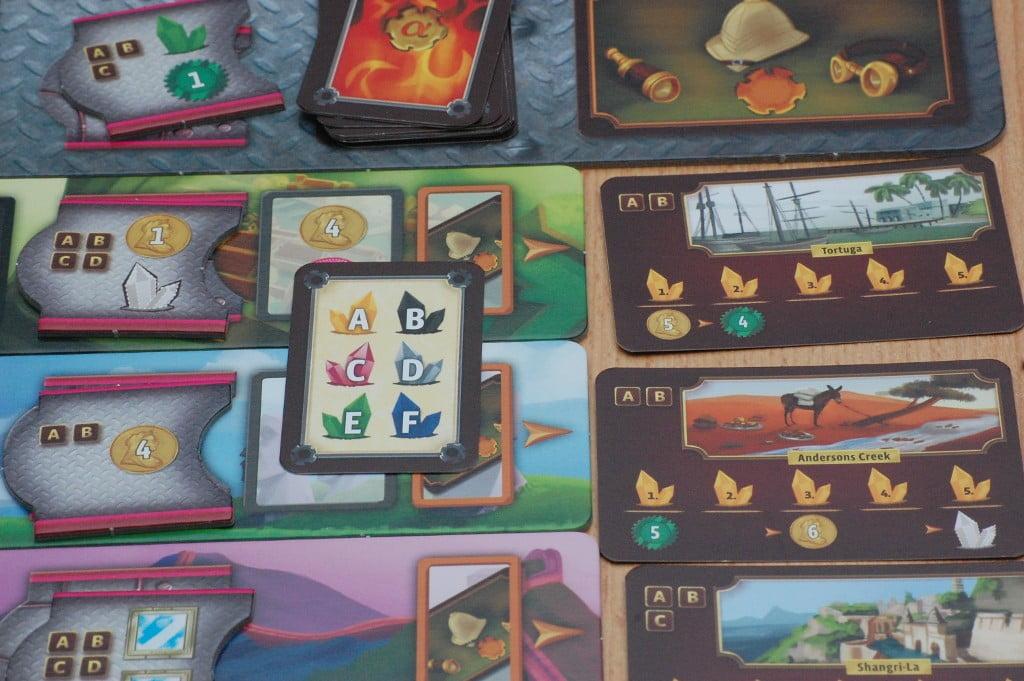 Le carte per codificare i costi di carte avventure e miglioramenti dei dirigibili variano ad ogni turno i colori necessari per fare acquisti: le strategie dominanti sono sgominate