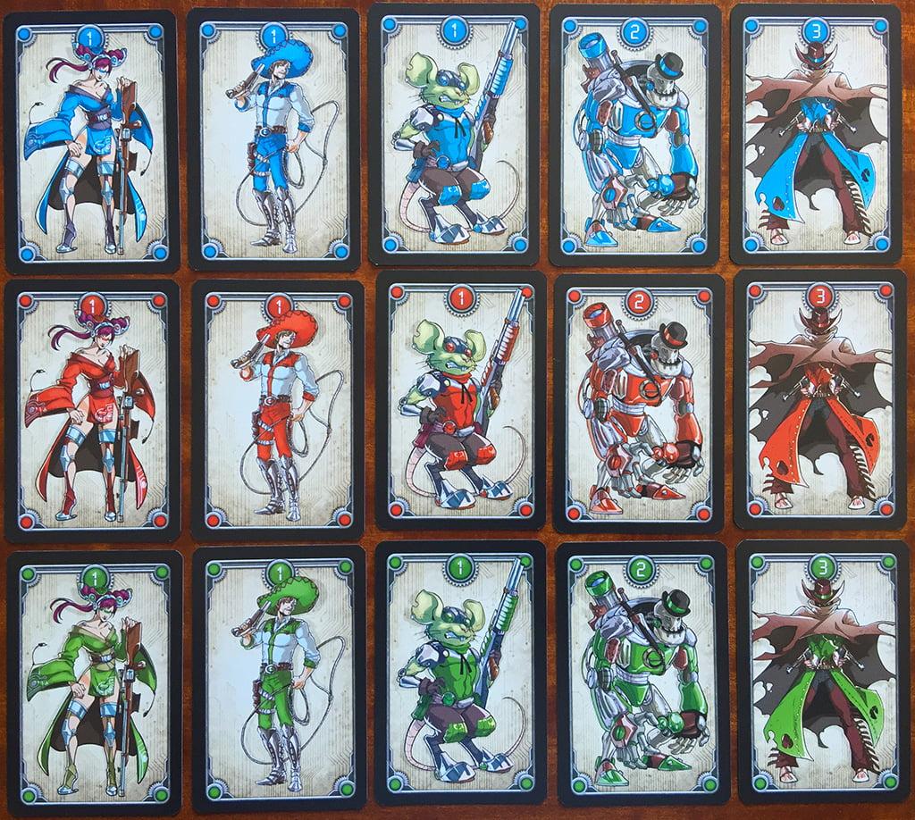 I banditi sparsi nel mazzo: hanno taglie che vanno da 1 a 3 punti e sono tutti in 3 varianti di colore.