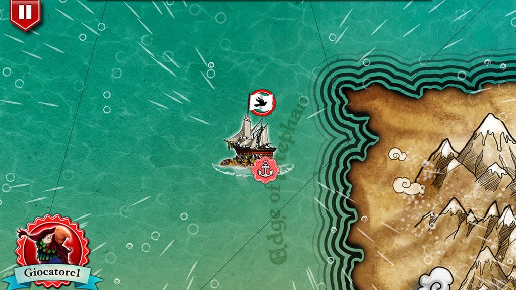 La nostra nave è bloccata in mare aperto dal maltempo (notate le gocce d'acqua).