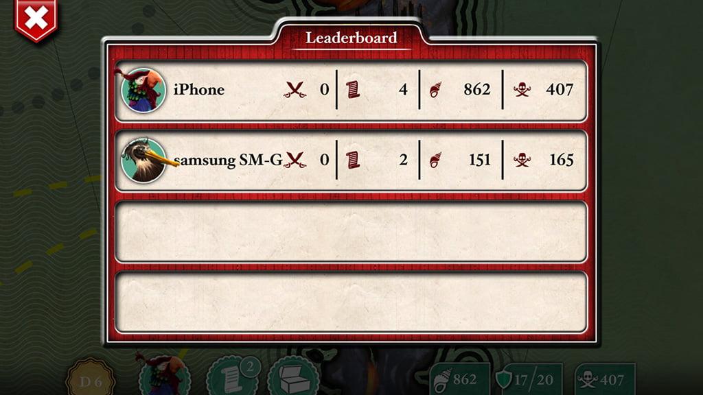 La schermata di riepilogo con i punteggi dei due giocatori.