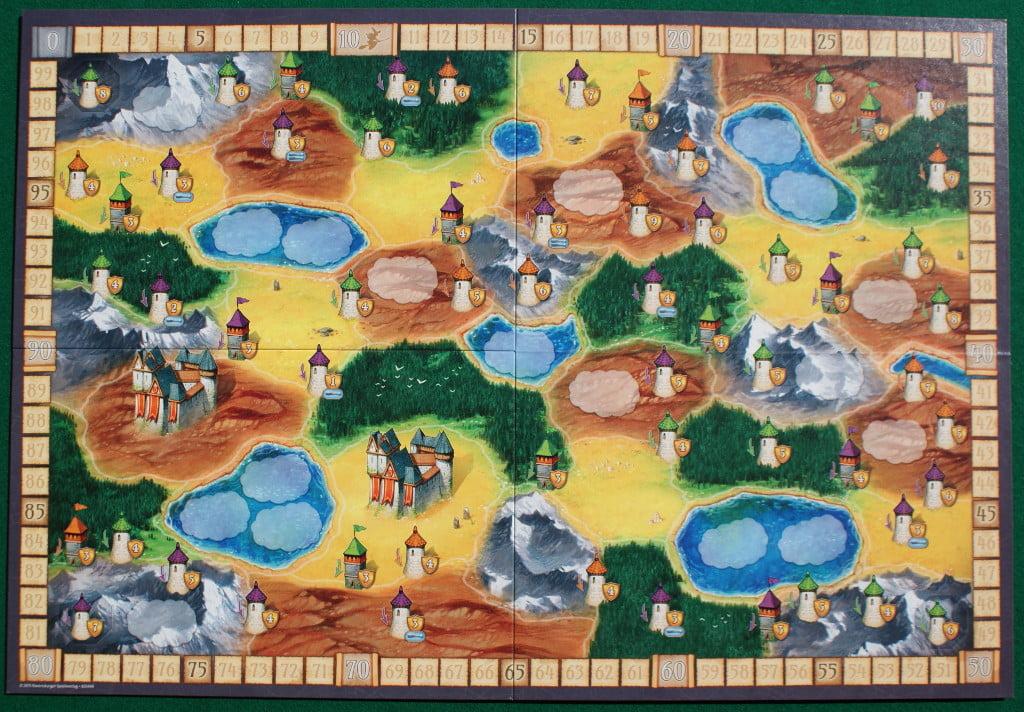 """il tabellone del gioco mostra la faccia """"A"""" con i due castelli """"rossi"""""""