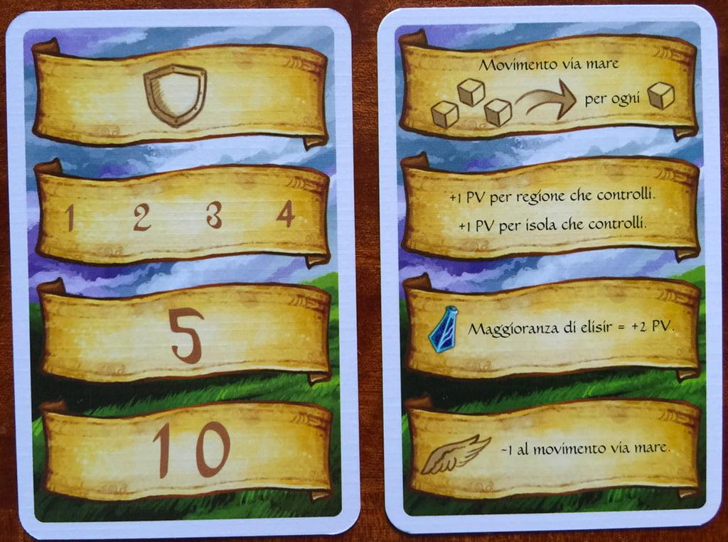 La carta promemoria che riceve ogni giocatore: da un lato ricorda gli elementi che a fine partita entrano nel conteggio dei punti; dall'altro, permette di segnare i punti senza dover ricorrere a un taccuino.