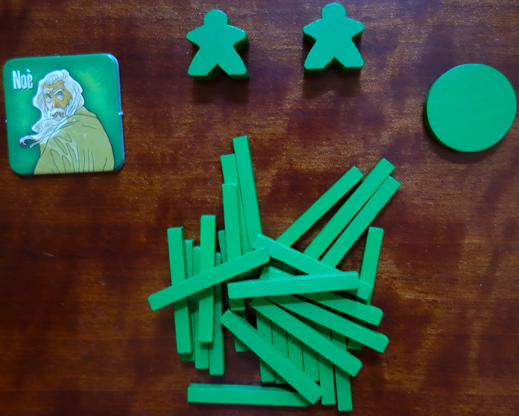 La dotazione del giocatore verde, che impersona il capofamiglia Noè.