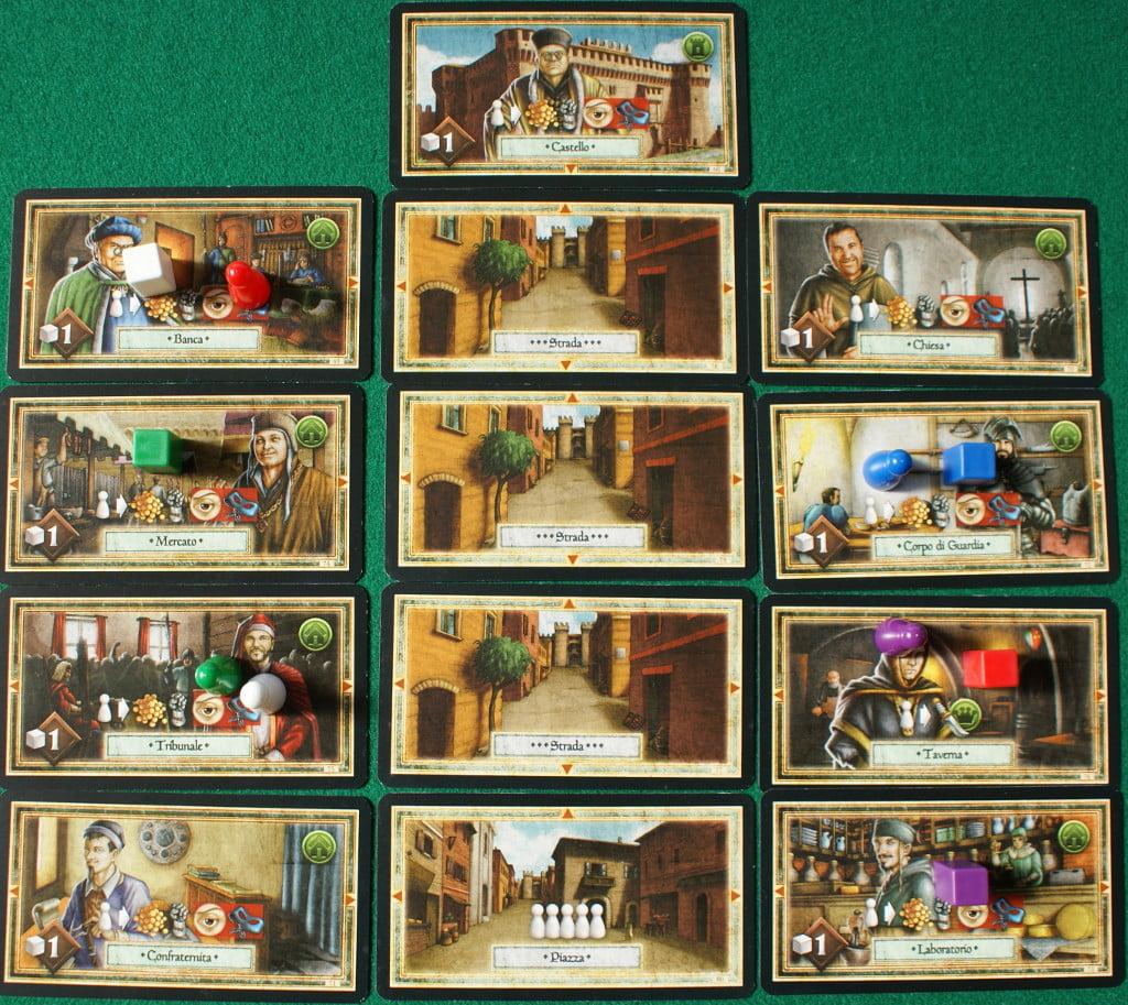 La ricostruzione del borgo di Gradara con le carte in dotazione