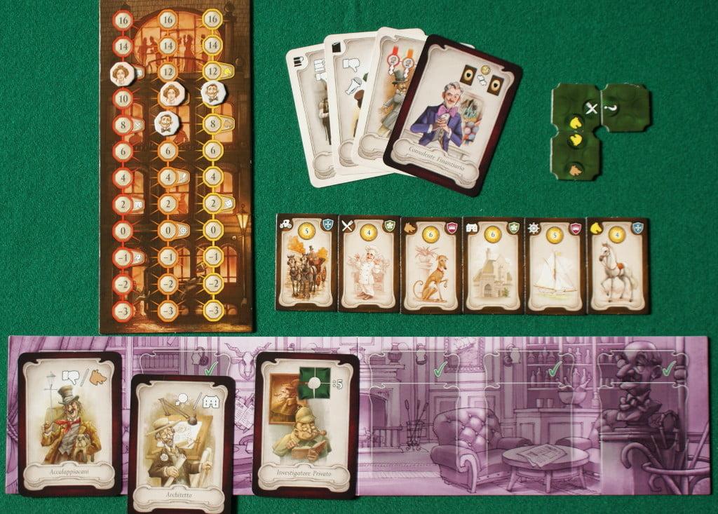 I vari componenti che avranno davanti i giocatori durante la partita: carte attive, carte da giocare, proprietà e le tessere Sezione di Partito