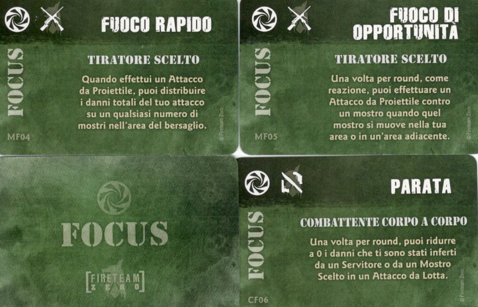 "3 carte ""focus"" appartenenti a 2 personaggi diversi."