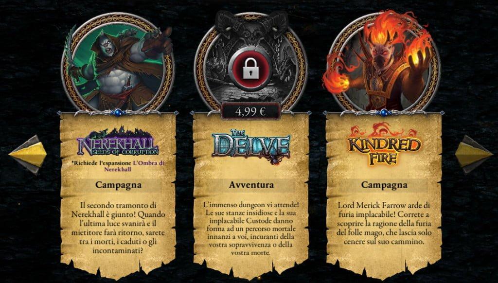 Alcune delle avventure/campagne disponibili