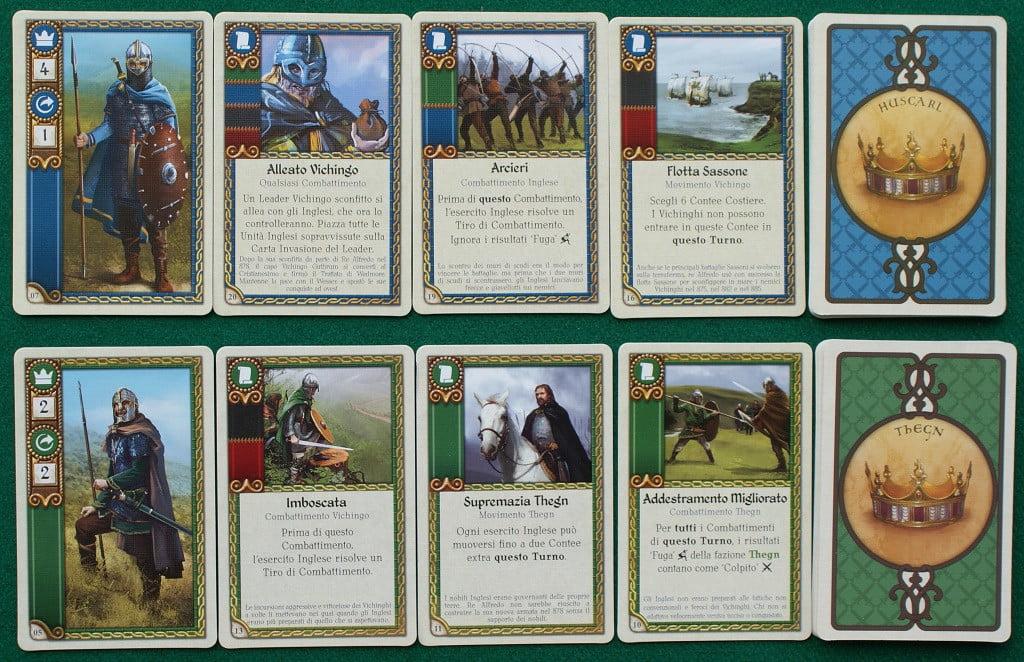 Alcune carte delle due fazioni inglesi: Huscarli e Thegn.