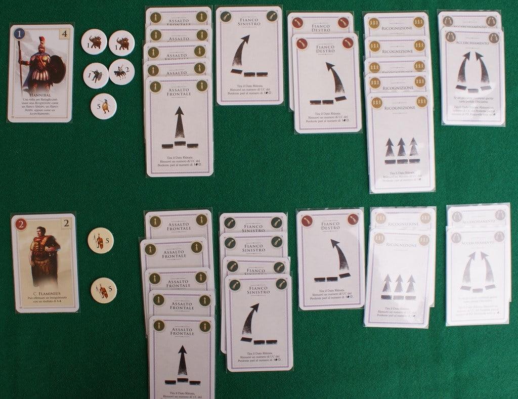 schierate sul tavolo le carte di battaglia