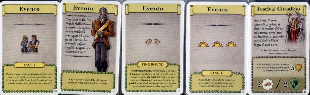 Esempi di carte evento.