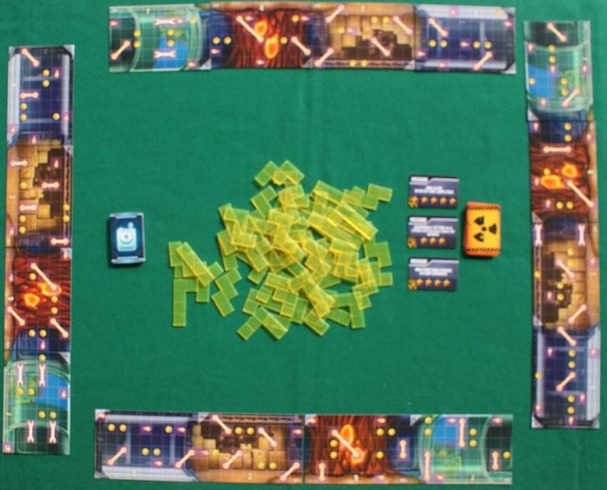 Un esempio di tavolo preparato per giocare in quattro