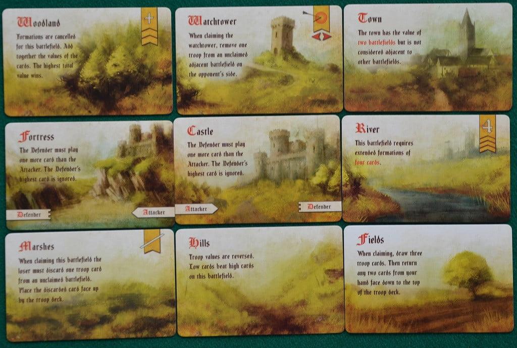 Le carte con i diversi campi di battaglia