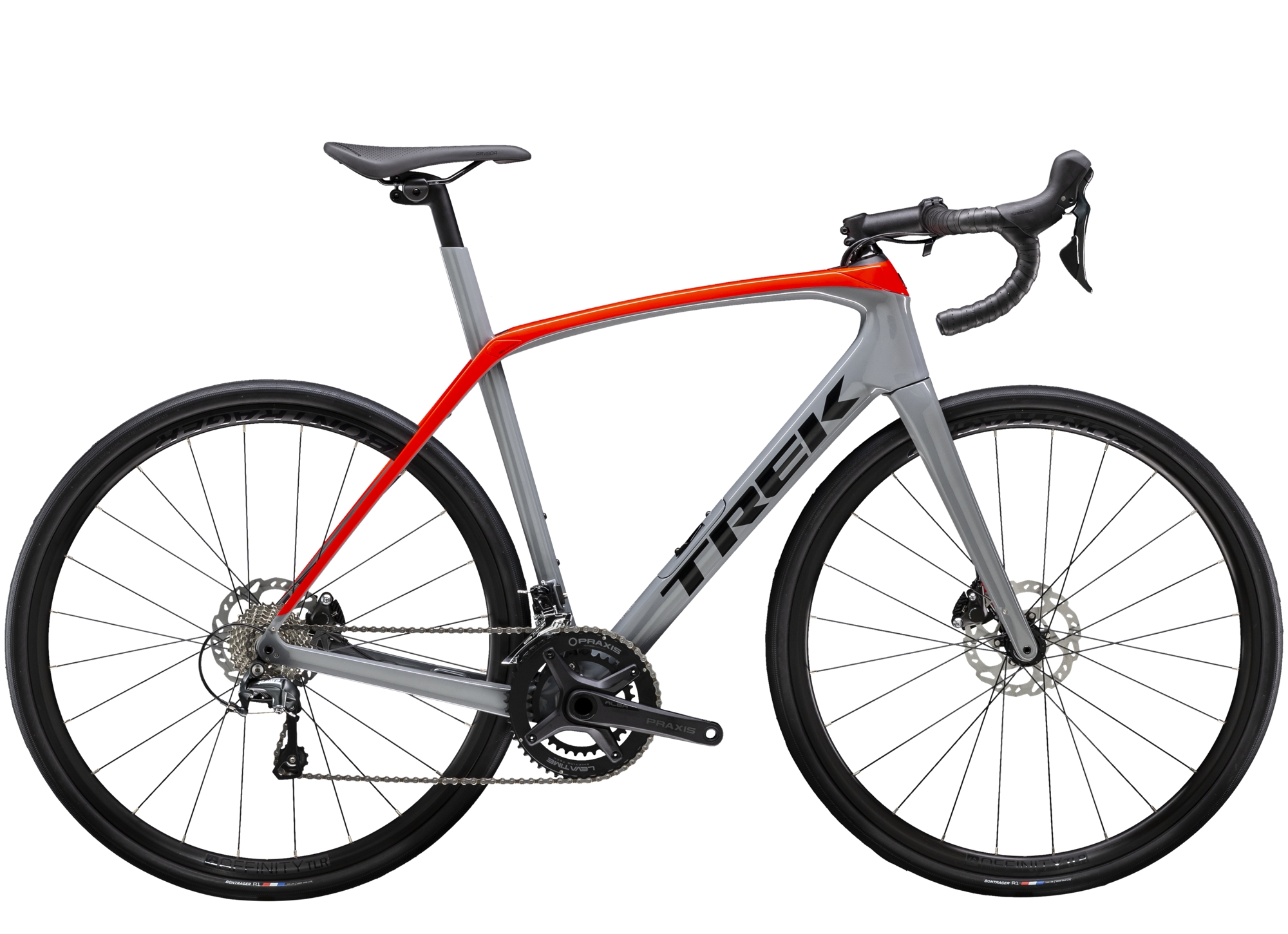 Trek Domane SL 4 Disc Carbon Road Bike 2021 in Grey and Red