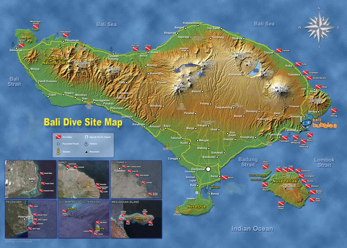 Map with the best diving in Bali