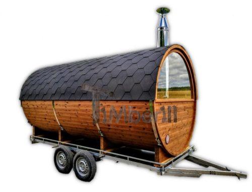 Zewnętrzna mobilna sauna beczka z piecem HARVIA - TimberIN