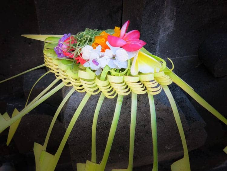 Balinese Offering of Colorful flowers placed on Black Stone