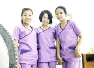 Role Foundation Students at their workplace with their uniform after 2 month studied at BISA Spa School in Sanur