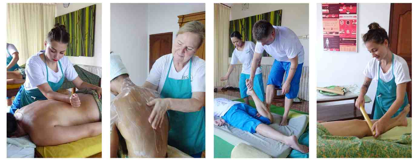 Collage photo of BISA Student, doing some massage treatment to their clients