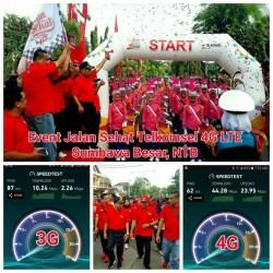 Ribuan Masyarakat Semarakkan Jalan Sehat Telkomsel 4G di Taman Mangga Sumbawa