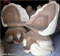 Carved Wood Turtle Chairs Furniture from Bali Indonesia