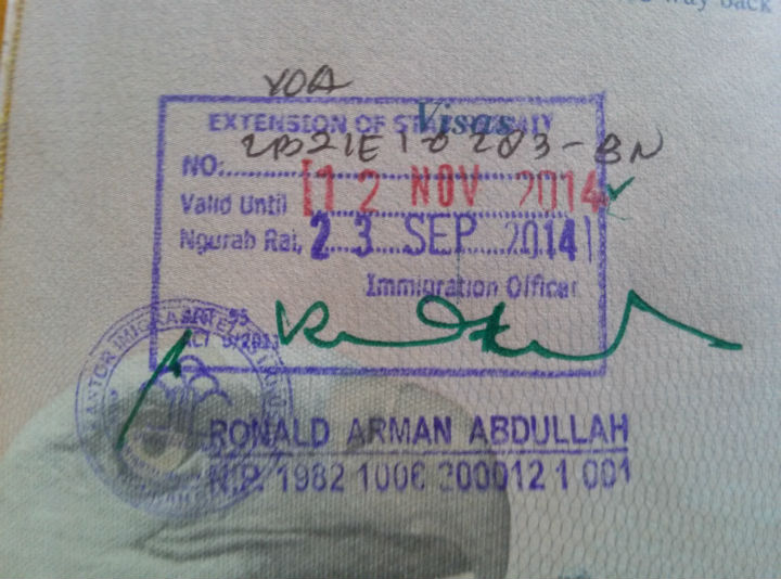 Indonesia Visa On Arrival Extension Stamp