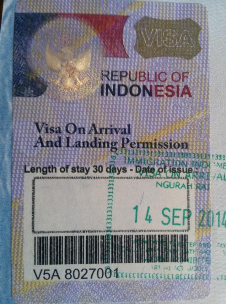 Indonesia Visa On Arrival Passport Sticker