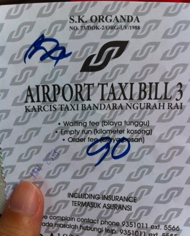 Bali airport taxi ticket