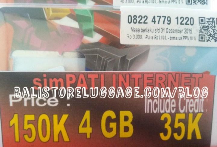 Telkomsel internet package at Bali airport