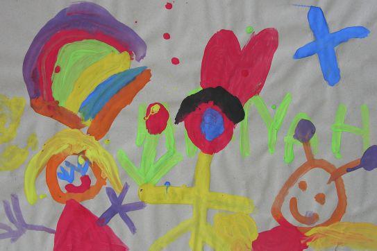Aktionskunst Kindermalen  Kinderbild Selbstbildnis