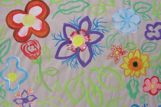 Aktionskunst Kindermalen  Kinderbild Blumen gemalt von
